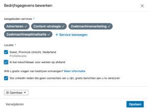 Linkedin aangeboden services